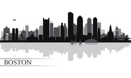 Boston city skyline silhouette background  Vector illustration