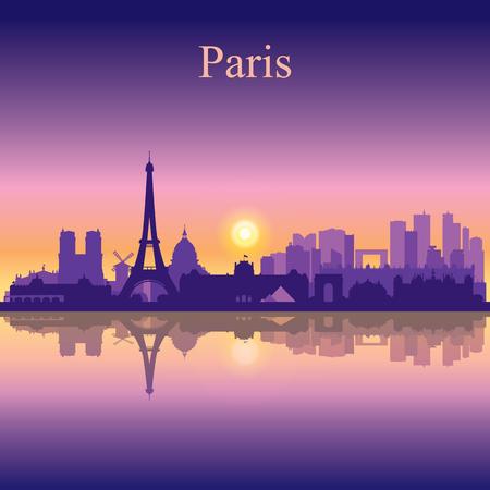 Illustration pour Paris city skyline silhouette background - image libre de droit