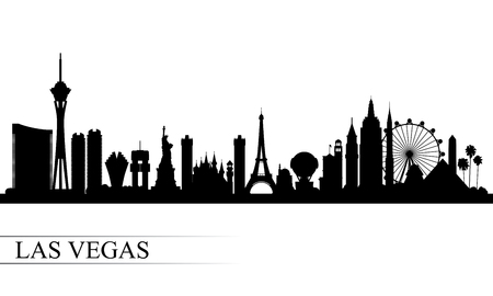 Illustration for Las Vegas city skyline silhouette background, vector illustration - Royalty Free Image