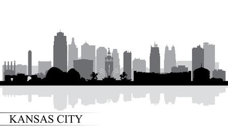 Illustration pour Kansas City skyline silhouette background, vector illustration - image libre de droit