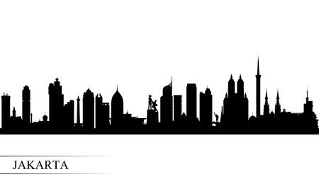 Illustration pour Jakarta city skyline silhouette background, vector illustration - image libre de droit