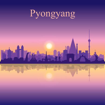 Illustration pour Pyongyang city silhouette on sunset background vector illustration - image libre de droit