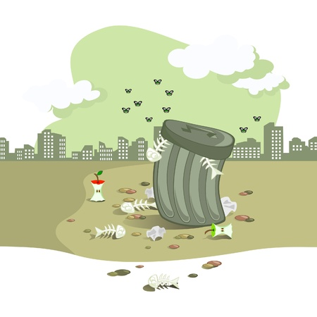 Illustration pour The Vector scene. On background of town landscape garbage tank. Around strewned rubbish. The Gray tone. - image libre de droit