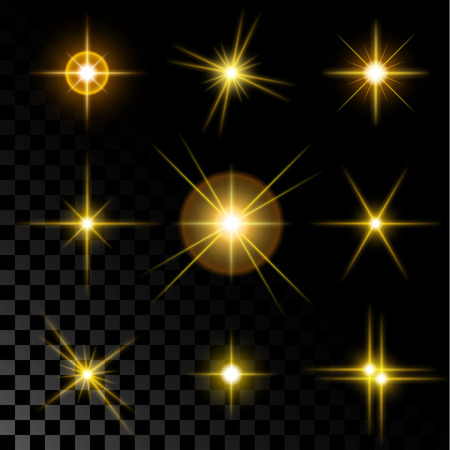 Ilustración de Set of the realistic sparkling gold star fires and flashes on a transparent background a vector illustration. - Imagen libre de derechos