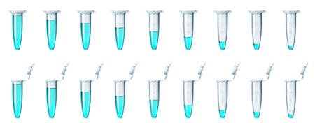 Illustrazione per Set test tube multi color on transparent - Immagini Royalty Free