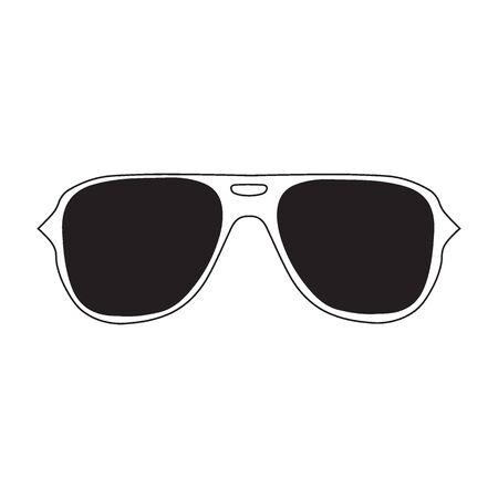Sunglasses eyeglasses icon. Vector illustration with trendy hand drawn glasses isolated on white backogrund. Sign and symbol for design, presentation, web