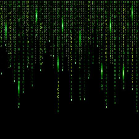 Electronic digital set, processed calculations, encrypted information, secret information. Matrix, code, time, number.