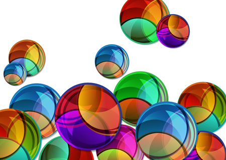 Creative vector illustration of a variety of bright multicolor circles with shadow. The overlay of colors forms the artistic design. Funny label shape. Graphic element for advertising or print, abstract background template design.