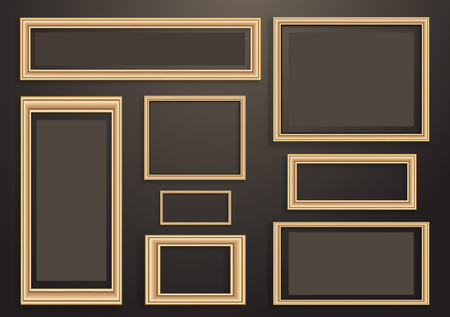 Illustration pour Collection of vector empty wooden frames for paintings or photographs on the wall. Different design. Vector illustration - image libre de droit