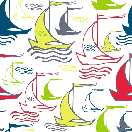 Sailboat Squiggle Pattern - Bright