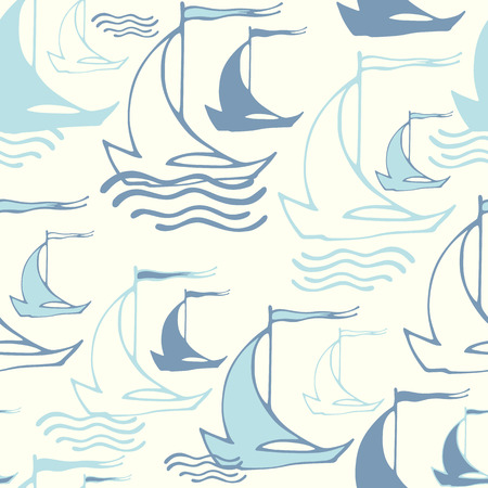 Sailboat Squiggle Pattern - Blue Wallpaper