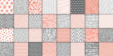 Illustration pour Abstract hand drawn geometric simple minimalistic seamless patterns set. Polka dot, stripes, waves, random symbols textures. Vector illustration - image libre de droit