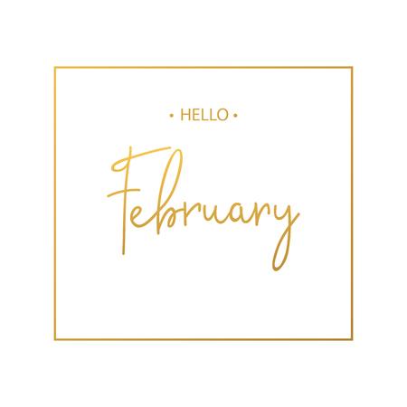 Hello February calligraphy inscription  Vector illustration
