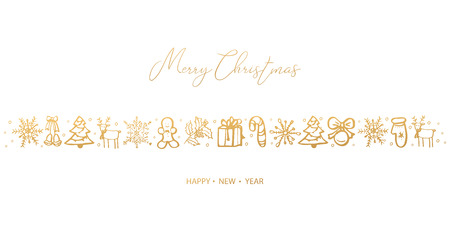 Illustration pour Merry Christmas and Happy New Year. Hand Drawn. Vector illustration. - image libre de droit