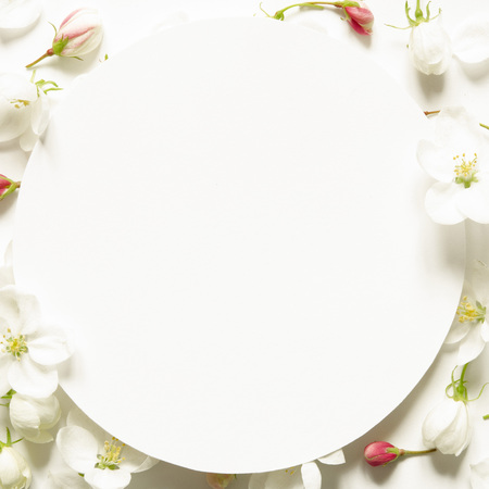Creative layout of summer  fresh flowers with space for text on white paper. Mockup. View from above. - Image