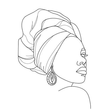 Illustration pour Abstract portrait of young African woman in minimalistic modern style. Line drawing. - Vector illustration - image libre de droit