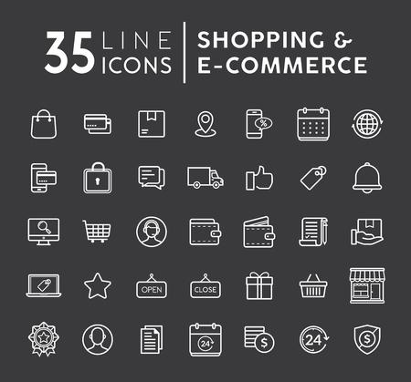 Ilustración de Vector set of Online shopping modern flat thin icons. E-commerce line icons set. E-commerce and shopping vector icons set on black background. Outline web icons set vector illustration. - Imagen libre de derechos