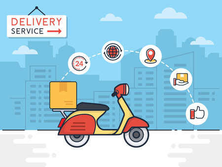 Illustration pour Delivery vector illustration. Delivery service with scooter motorcycle and cardboard boxes on city background. Delivery 24 hour concept. - image libre de droit