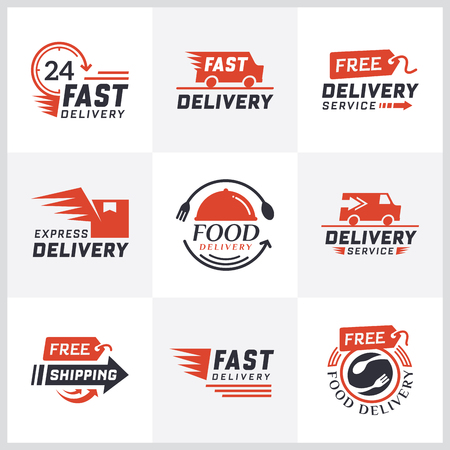 Ilustración de Set of delivery labels for online shopping. Worldwide shipping, Delivery signs and logo. Signs and labels free delivery. Fast delivery logotype. Delivery service icons. Food delivery design - Imagen libre de derechos
