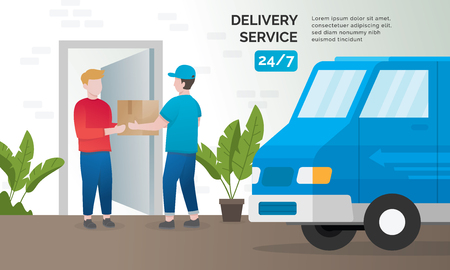 Ilustración de Illustration concept of delivery services. Express delivery concept, Delivery parcel to door. Vector illustration - Imagen libre de derechos