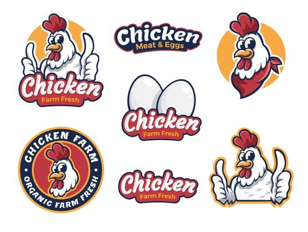 Illustration pour Set chicken label for business template illustration. Chicken mascot logo vector, Illustration of chicken. Banner illustration - image libre de droit