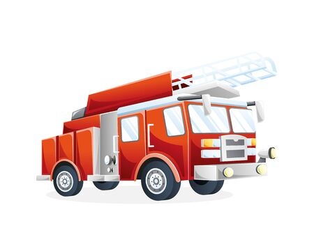 Illustration pour Vector illustration Fire truck. Fire fighting transportation vehicle to extinguish fire Flat vector illustration - image libre de droit