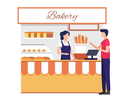 Illustration for Small business and self-employment concept with female shopkeeper serve customer. Female cashier with buyer, Different bread, Cakes in the window. Vector illustration flat style - Royalty Free Image