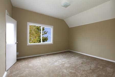 New beige bedroom with carpet
