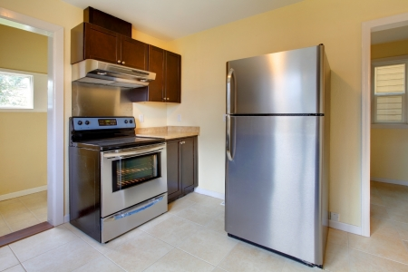 New modern kitchen with stove and refrigerator