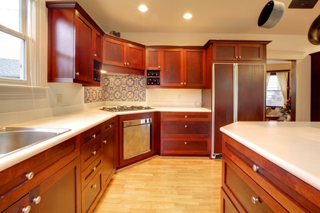 Luxury cherry kitchen with very beautiful wood