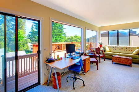 Photo pour Home office and living room with balcomy view inteior.  - image libre de droit