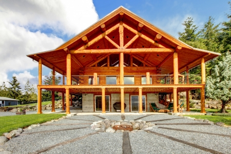 Large log cabin with large porch and fire circle