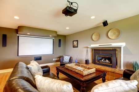 Clasic Living room with projector screen and fireplace.