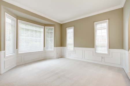 Bright lbeige arge empty room with carpet, molding and  windows.