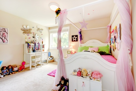 Baby girl room interior with white bed and pink post curtains