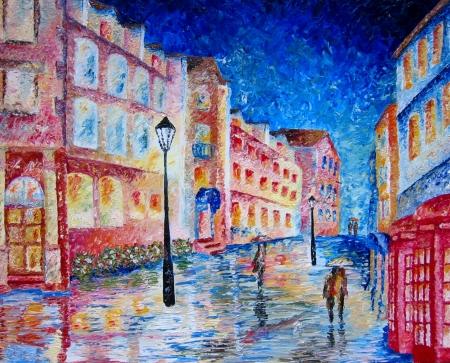 London street oil painting in heavy oils.