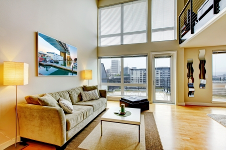 Photo for Modern loft apartment living room interior with high ceiling  - Royalty Free Image