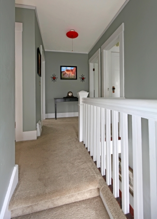 Grey upstairs hallway with white railing and beige carpet.