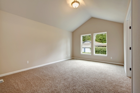 Soft colors empty room with valted ceiling, big window, carpet floor