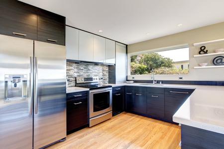 Kitchen room with black storage combination
