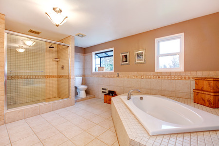 Large bathroom with glass door shower and bath tub