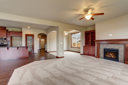 Photo for Lovely unfurnished living room with carpet, and fireplace. - Royalty Free Image