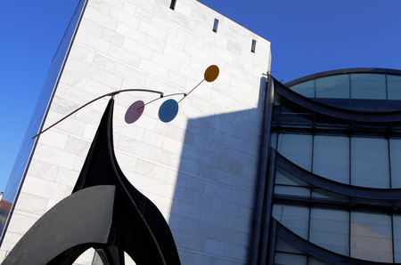 Nice, France - October 17, 2011: Architectural detail of the Museum of Contemporary Art, major cultural and touristic landmark in Nice.