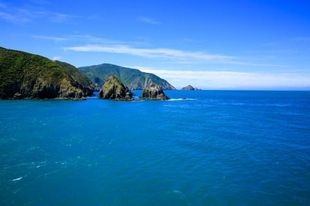 Beautiful landscape view of Marlborough Sound, New Zealand.