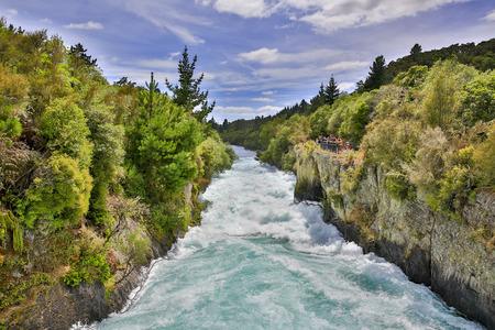 Rushing wild stream of Huka Falls near Lake Taupo, New Zealand