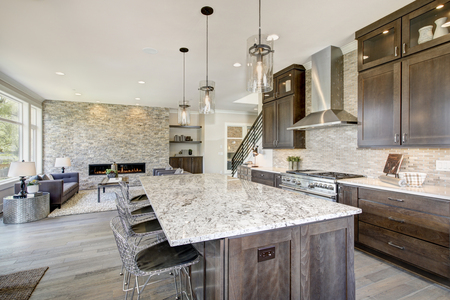 Photo pour Luxury kitchen accented with large granite kitchen island, taupe tile backsplash, natural brown wood cabinets and high-end stainless steel appliances. Northwest, USA - image libre de droit