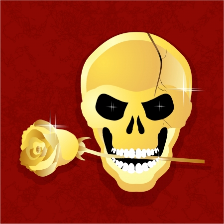golden skull with a rose in his teeth for the Reds against