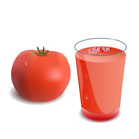A glass of tomato juice or a cocktail and tomatoのイラスト素材