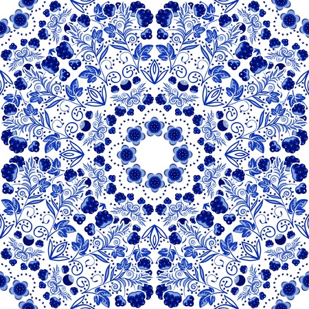 Seamless floral pattern of circular ornaments.