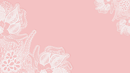 Pink lace background. Template greeting card or invitation with flowers in the corners. Vector illustration